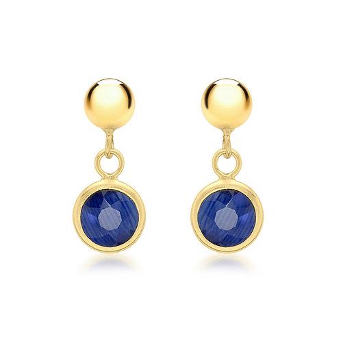 9ct Gold Blue Crystal Drop Earrings
