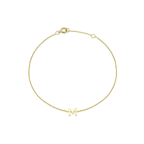 9ct Yellow Gold Initial M Ladies Bracelet