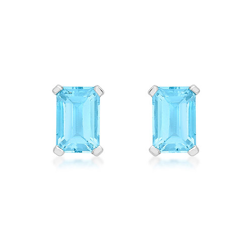 9ct White Gold Octagonal Blue Topaz Stud Earrings