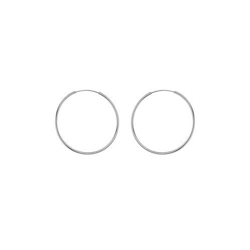 Sterling Silver 26mm Thin Hoop Earrings