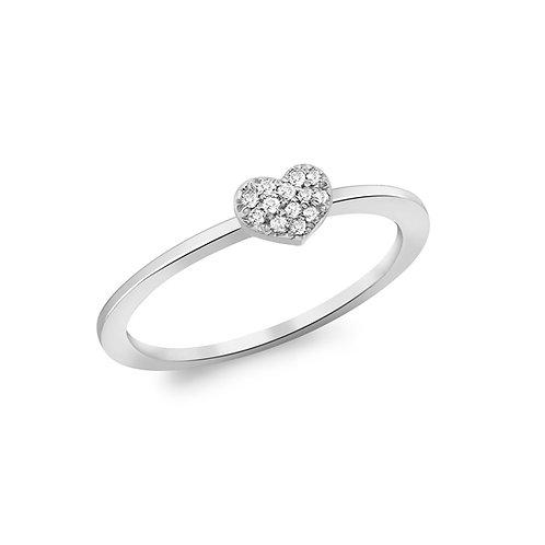 9ct White Gold Diamond Set Heart Ring