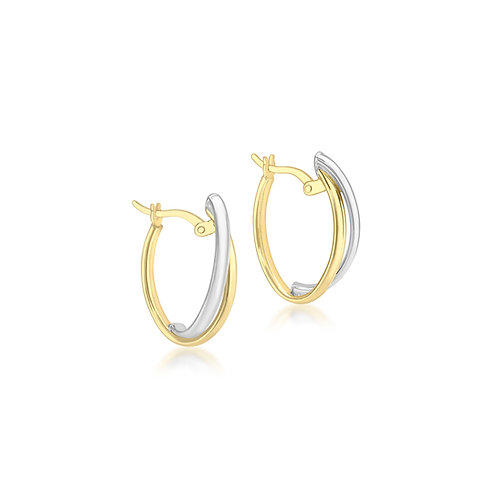9ct White & Yellow Gold 22mm Oval Creole Earrings