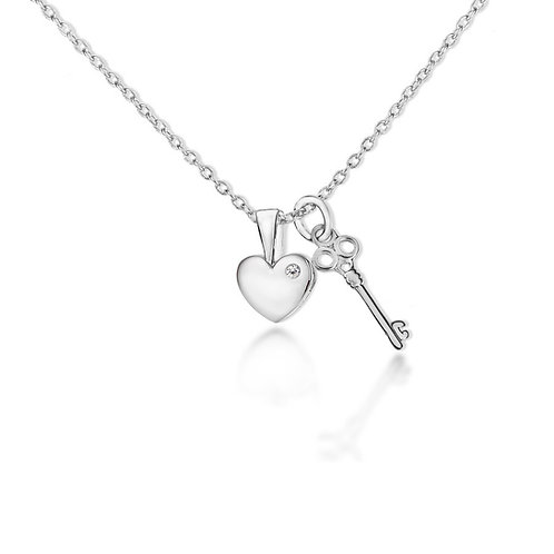 Sterling Silver Diamond Set Key and Heart Necklace
