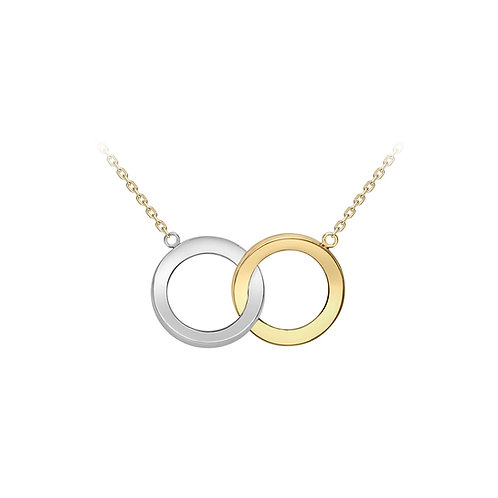 9ct White and Yellow Double Ring Necklace