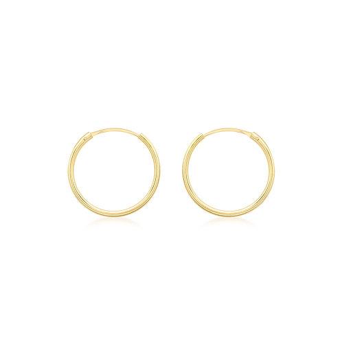 9ct Yellow Gold 15mm Sleeper Hoop Earrings