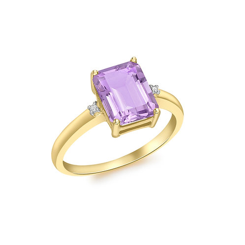 9ct Yellow Gold Octagonal Amethyst and Diamond Ring