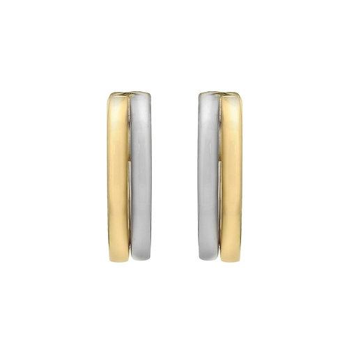 9ct Two Tone Hoop Earrings