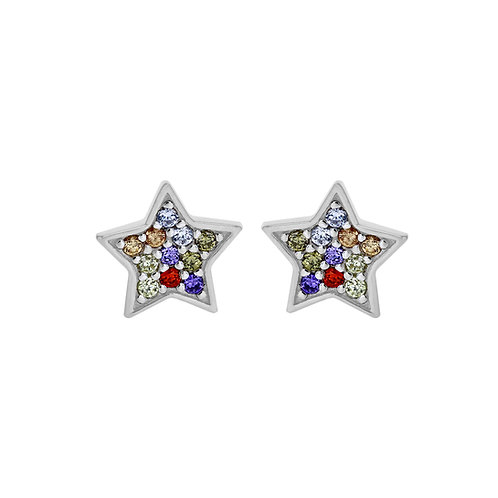 Sterling Silver Coloured Star Stud Earrings