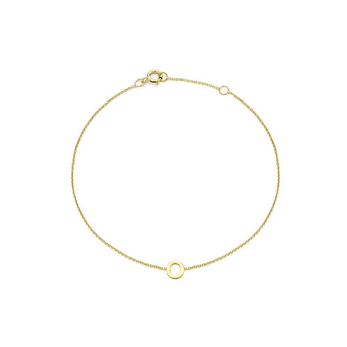 9ct Yellow Gold Initial O Ladies Bracelet