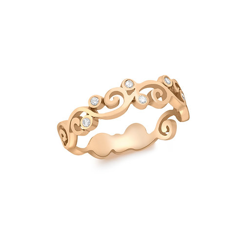 9ct Rose Gold Diamond Set Swirl Design Ring