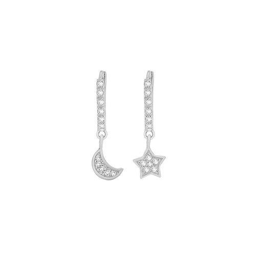 Sterling Silver Stone Set Star and Moon Hoop Earrings
