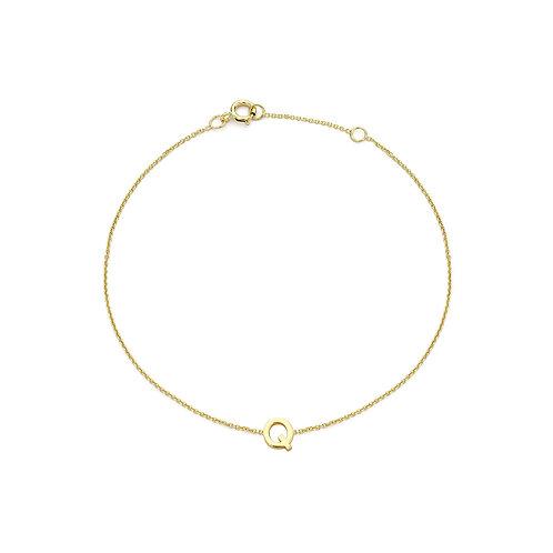 9ct Yellow Gold Initial Q Ladies Bracelet