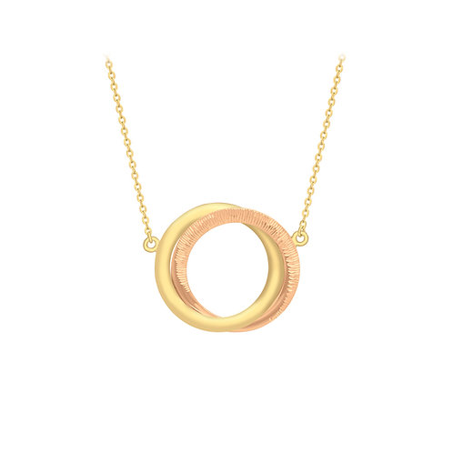 9ct Rose and Yellow Double Ring Necklace