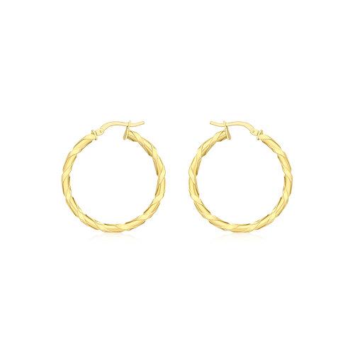 9ct Yellow Gold 30mm Twist Creole Earrings