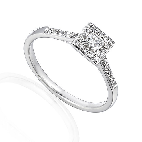 0.38ct Diamond Solitaire Halo Ring