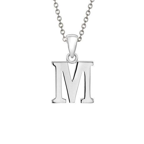 Sterling Silver Letter M Pendant