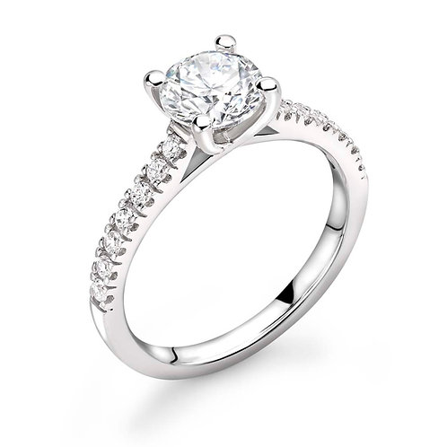 0.50ct Diamond Solitaire Ring with Claw Set Side Stones