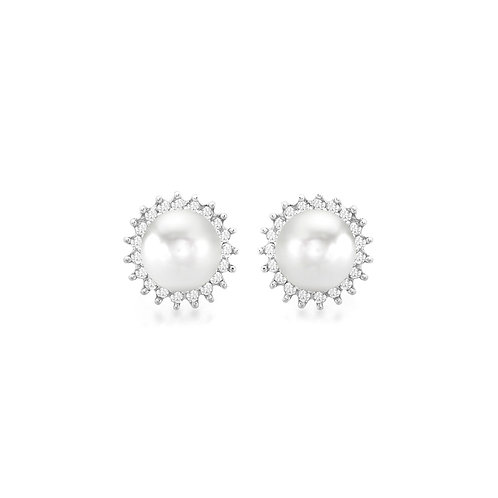 9ct White Gold Diamond and Pearl Stud Earrings