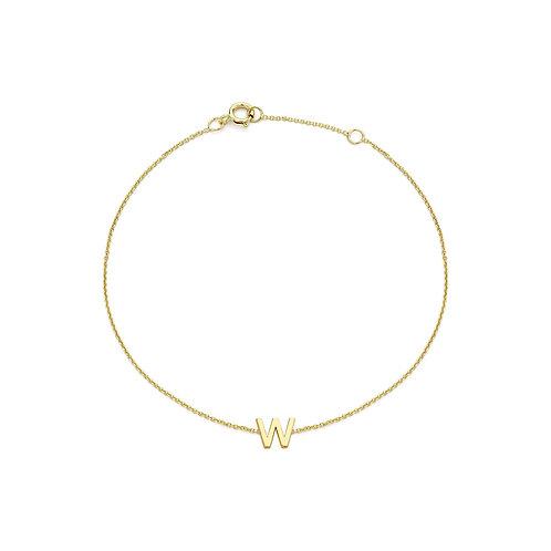 9ct Yellow Gold Initial W Ladies Bracelet