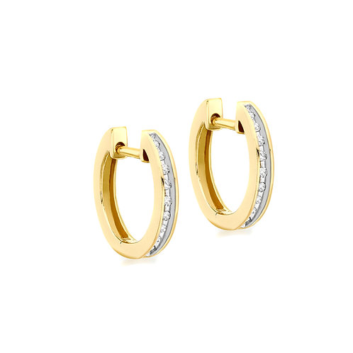 9ct Yellow Gold 15mm Diamond Set Huggie Earrings