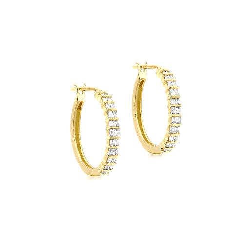 9ct Yellow Gold 18mm Diamond Set Creole Earrings