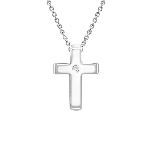 9ct White Gold Diamond Set Cross Pendant