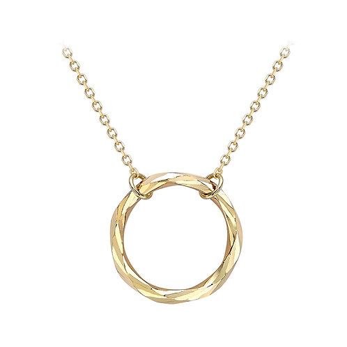 9ct Yellow Gold Diamond Cut Ring Necklace