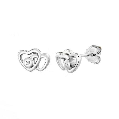 Sterling Silver Diamond Set Heart Shaped Stud Earrings