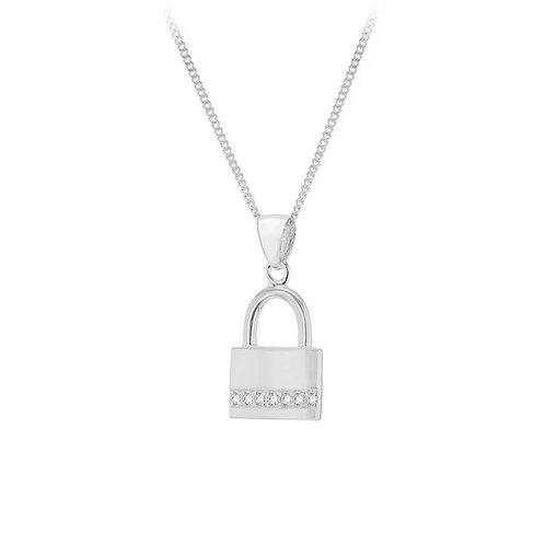 Sterling Silver Padlock CZ Pendant