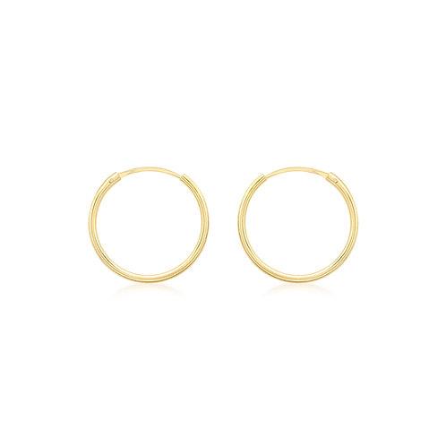 Yellow Gold Vermeil 18mm Plain Sleeper Hoop Earrings