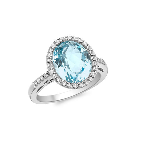 9ct White Gold Blue Topaz and Diamond Cluster Ring