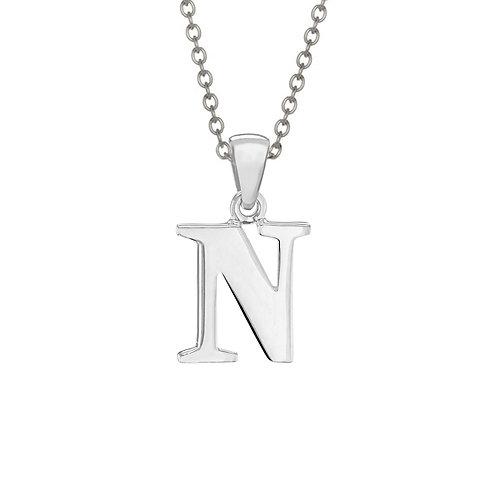 Sterling Silver Letter N Pendant