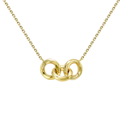 9ct Yellow Gold Dia Cut Linked Rings Necklace