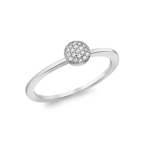 9ct White Gold Round Diamond Set Ring