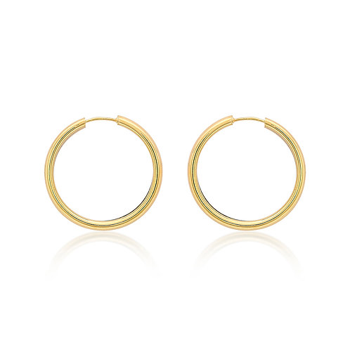 9ct Yellow Gold 30mm Thick Hoop Earrings