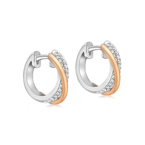 18ct White & Rose Gold 17mm Diamond Set Huggie Earrings