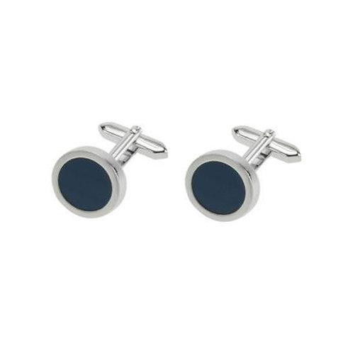 Stainless Steel Blue Enamel Cufflinks