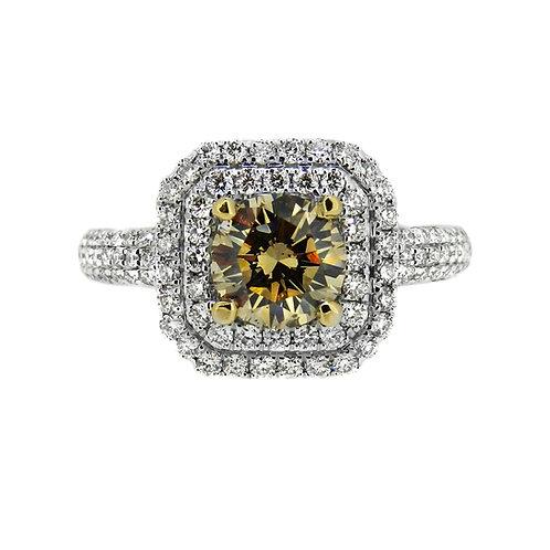 18ct Gold Cognac Diamond 1.04ct Halo Ring