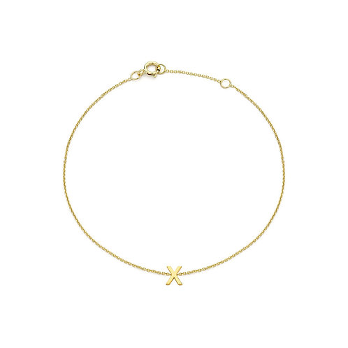 9ct Yellow Gold Initial X Ladies Bracelet