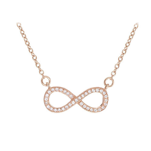 Sterling Silver Rose Gold CZ Infinity Necklace