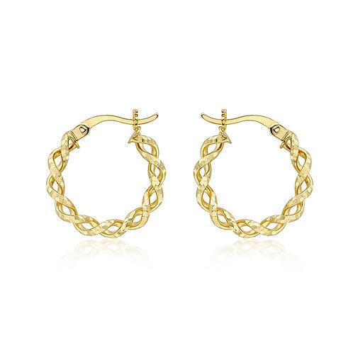 9ct Yellow Gold Twist Diamond Cut Hoop Earrings