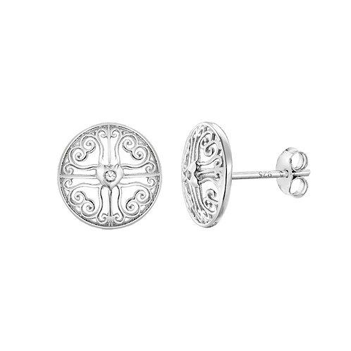 Sterling Silver Diamond Set Design Stud Earrings