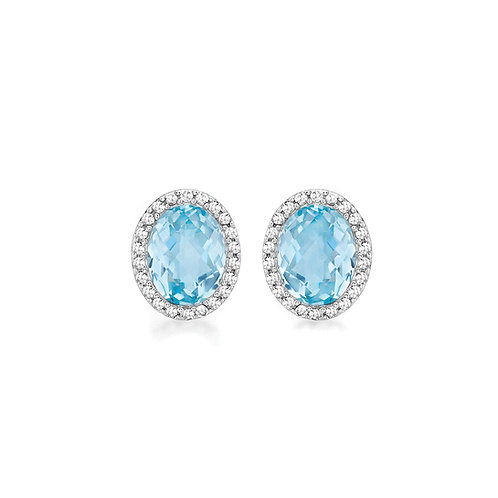 9ct White Gold Oval Blue Topaz and Diamond Halo Earrings