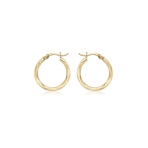 9ct Yellow Gold 19mm Diamond Cut Hoop Earrings