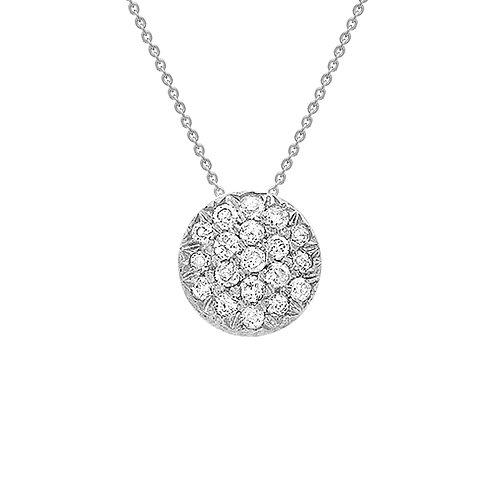 9ct White Gold Round Pave Set Diamond Pendant