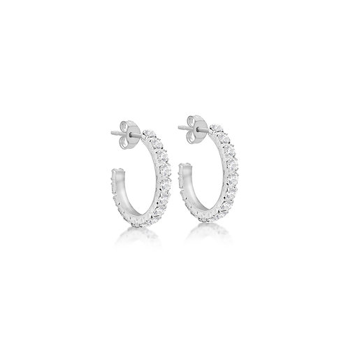 Sterling Silver Stone Set Micro Claw Hoop Earrings