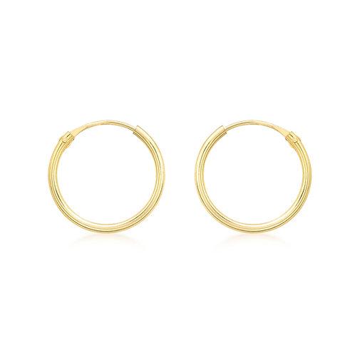 9ct Yellow Gold 13mm Plain Sleeper Hoop Earrings