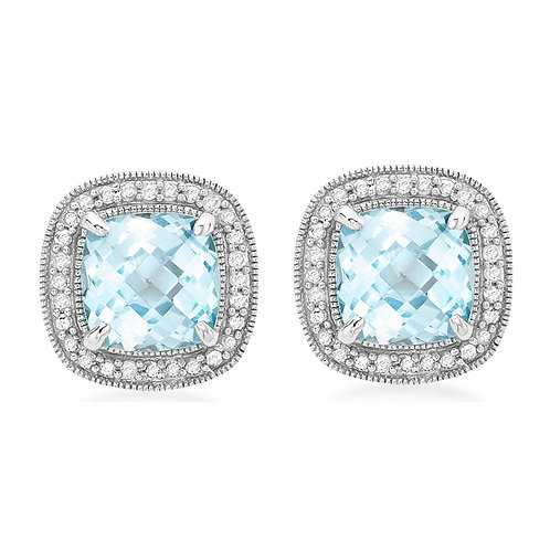 9ct White Gold Blue Topaz and Diamond Earrings