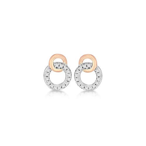 Sterling Silver CZ Double Ring Earrings