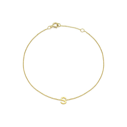 9ct Yellow Gold Initial S Ladies Bracelet